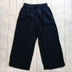 Tahari Blue 100% Linen Wide Leg Pull On Pants